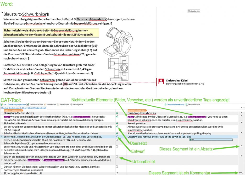 Vergleichsansicht MS Word und Text im CAT-Tool