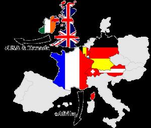 EU Karte der Deutsch, Französisch und Englisch sprechenden Länder