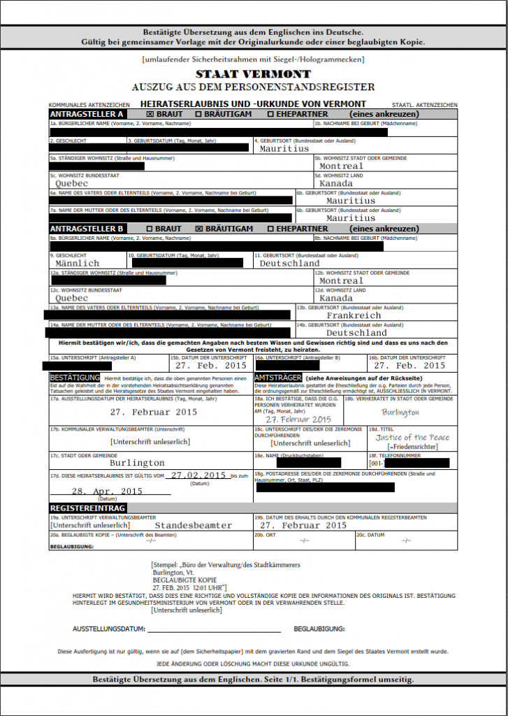 Beispiel: Amerikanische Heiratsurkunde - eine beglaubigte Übersetzung kostet oft zwischen 110 und 145 EUR.