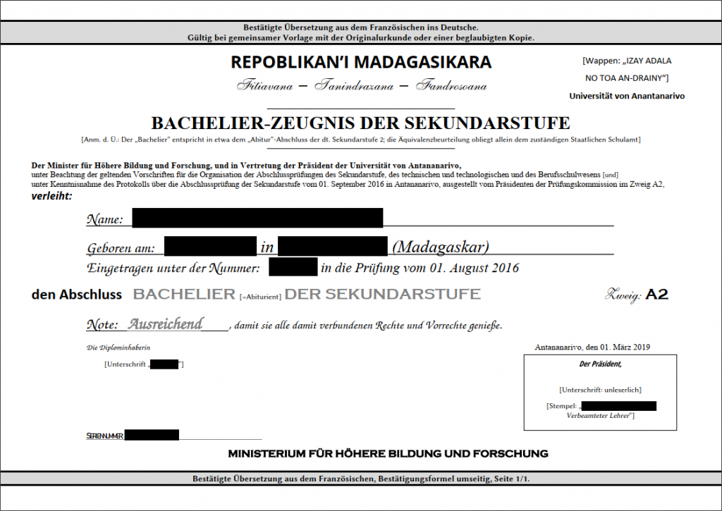 Beispiel: Madegassisches Abiturzeugnis - eine beglaubigte Übersetzung kostet oft nur 23,80 EUR.